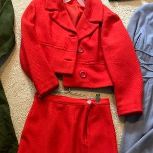 Vintage red skirt and jacket